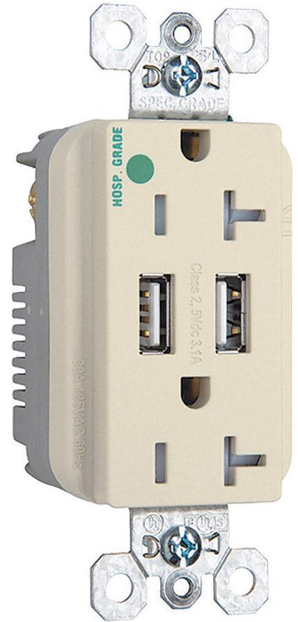 Tomacorriente dúplex Grado Hospital color marfil, 2 USB tipo A