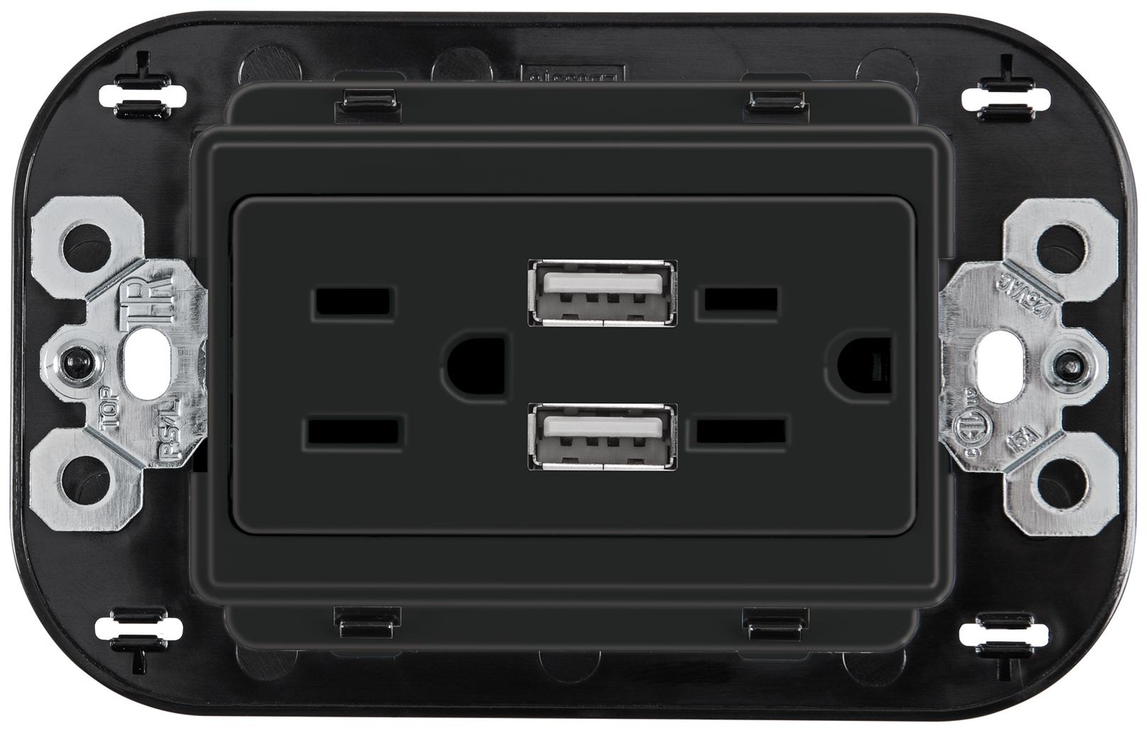 Tomacorriente Dúplex 2P+T protección infantil, 2 USB 3.1A,3 mód. Negro Mate